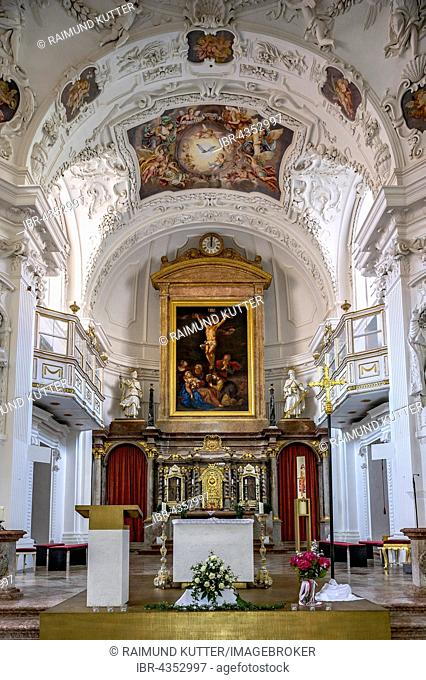 Chancel, choir with Baroque interior by Hans Georg Asam, St. Quirin Basilica, former Benedictine monastery Tegernsee, Tegernsee, Upper Bavaria, Bavaria, Germany
