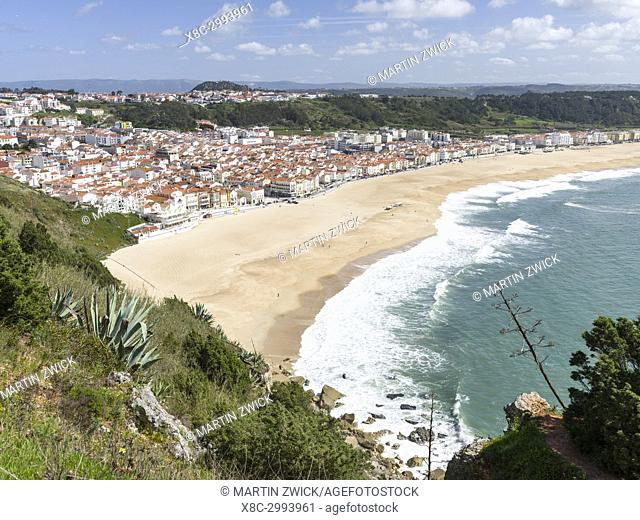 View over town and beach from Sitio. The town Nazare on the coast of the Atlantic ocean. Europe, Southern Europe, Portugal