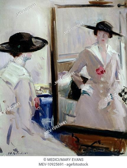 Lady in Black Hat' – woman looking at herself in a mirror