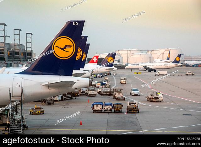 Frankfurt Germany- October 19 2018: Airplanes of Lufthansa on the runway at terminal 1 of Frankfurt International Airport in Germany