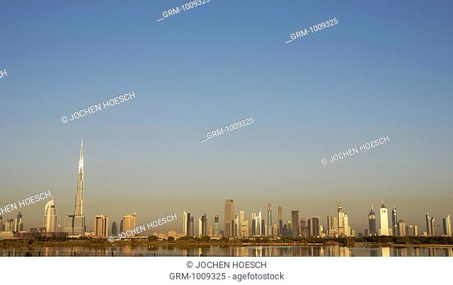 Skyline of Sheikh Zayed Road at sunrise, Dubai, UAE