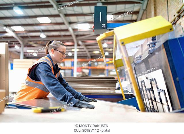 Female worker operating cutting machine in cardboard box factory