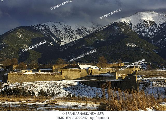 France, Pyrenees Orientales, Natural regional park Catalan Pyrenees, listed as World Heritage by UNESCO, Mont Louis, Vauban fortifications, winter fortress