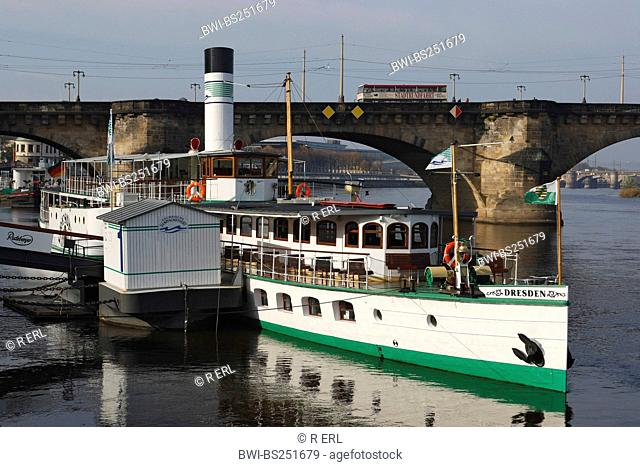 Paddle Steamer on the River Elbe , Germany, Saxony, Dresden