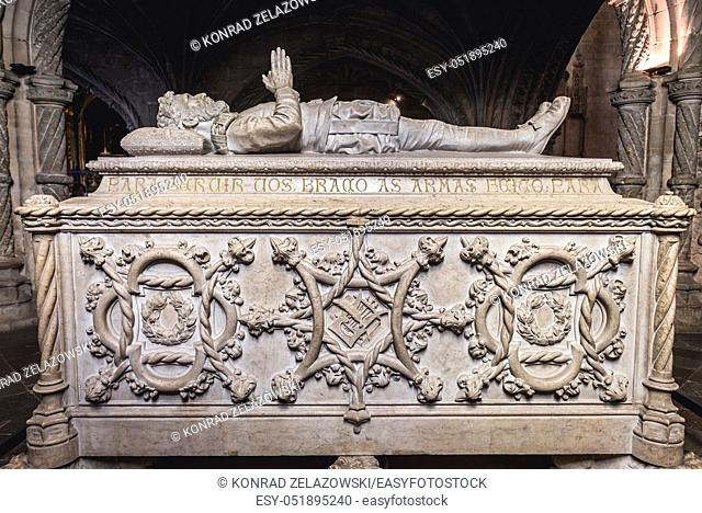 Tomb of Luis de Camoes in Jeronimos Monastery - Mosteiro dos Jeronimos in Belem district in Lisbon, Portugal
