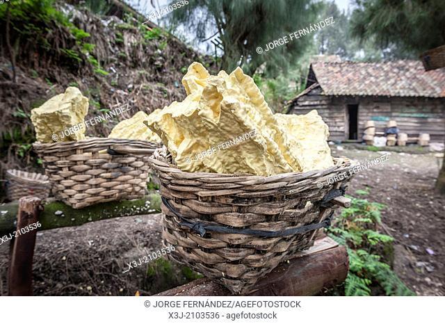 Abandoned sulfur baskets nearby Kawah Ijen mine during a period of dangerous eruptions, Kawah Ijen, Indonesia, Asia