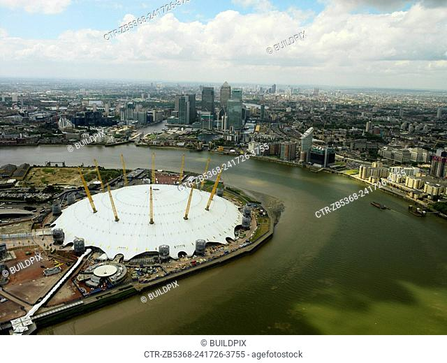 Millennium Dome on the Greenwich Peninsula and Canary Wharf, London Docklands, UK