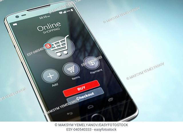 Online shopping concept. Mobile phone or smartphone with cart on the screen. 3d illustration
