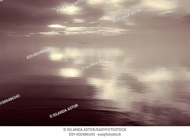 Sea and sky on the beach of the Trabucador in the Delta del Ebro  Spain