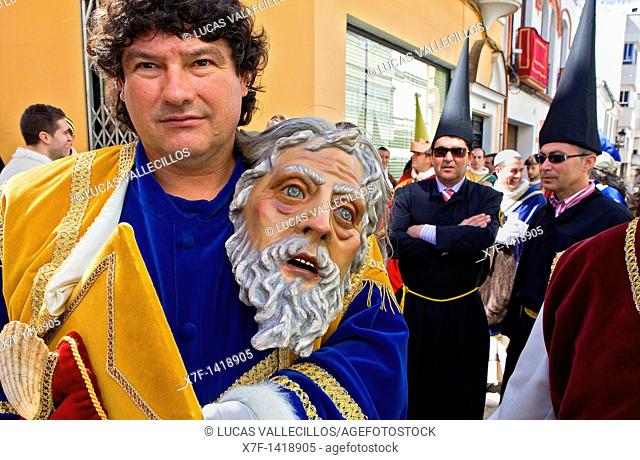 `Figura' and penitents Holy Week  Easter Sunday Puente Genil  Córdoba province  Spain