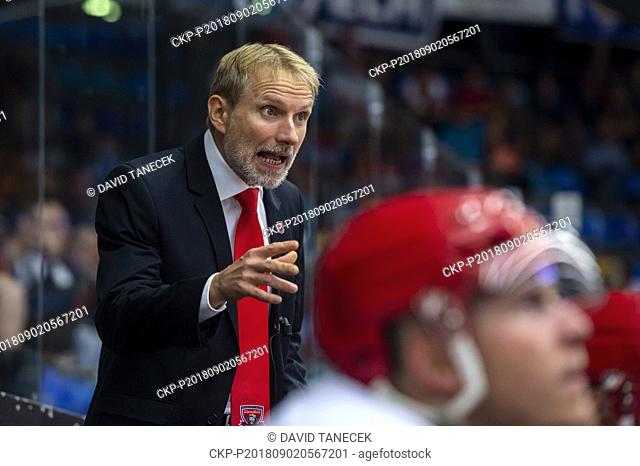 Coach TOMAS MARTINEC of Mountfield Hradec Kralove in action during the Ice hockey Champions League matches group F Mountfield Hradec Kralove vs