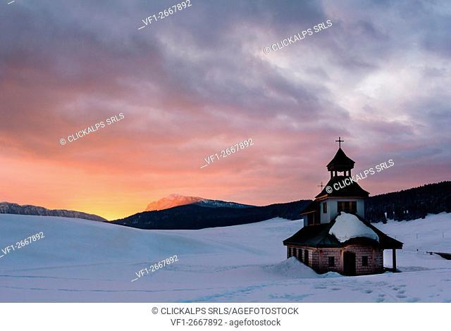 Church, Vezzena, Altopiano of Vezzena, Trento, Province of Trentino Alto Adige, Italy. Small church of Santa Zita at dawn