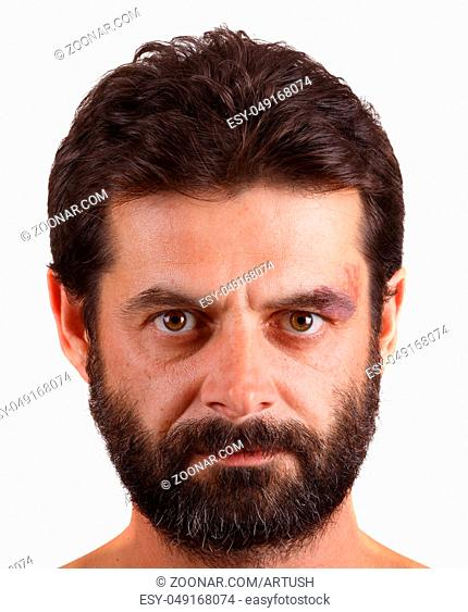 portrait of man with one month unshaven face