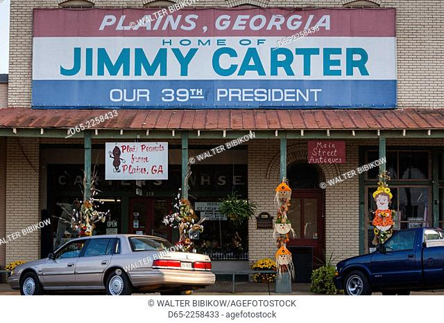 USA, Georgia, Plains, downtown buildings with Carter Presidential banner
