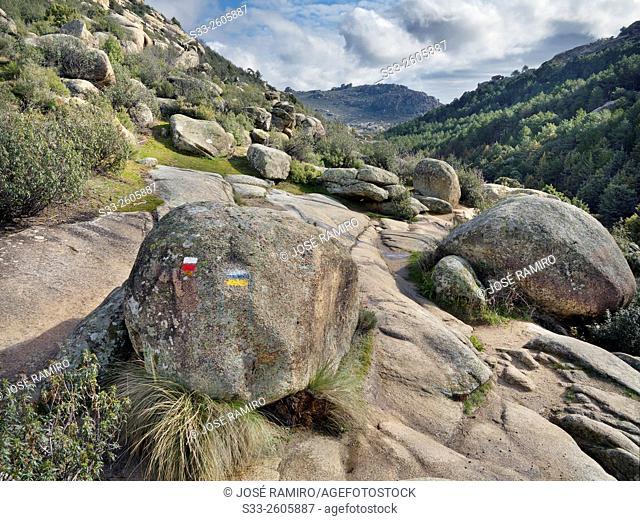 Camorza gorge in the Pedriza. Sierra de Guadarrama. Manzanares el Real. Madrid. Spain. Europe