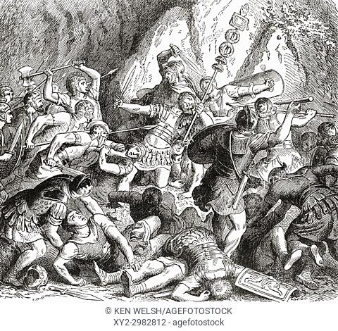 The defeat and destruction of the Fabii at The Battle of the Cremera, Italy, fought between the Roman Republic and the Etruscan city of Veii, in 477 BC