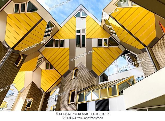 Cube houses in Overblaak Street in Rotterdam, Netherlands, Europe