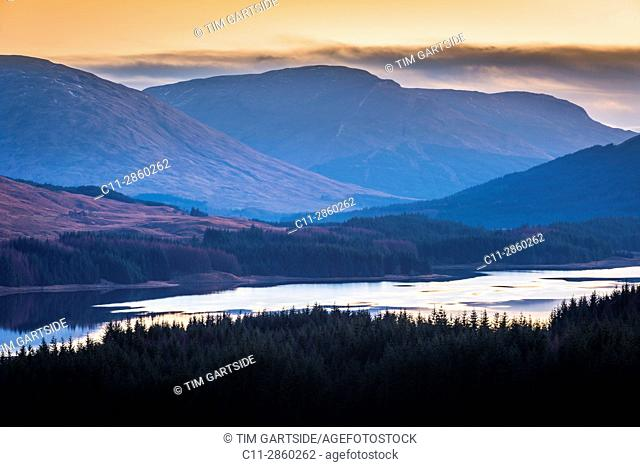 Loch Tulla, river orchy, glenn orchy, Argyll and Bute, Scotland, uk