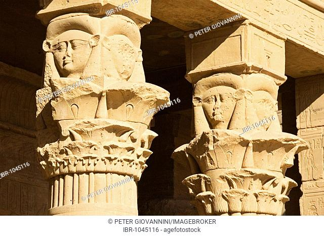 Faces of Hathor on columns, Philae, Aswan, Egypt, Africa