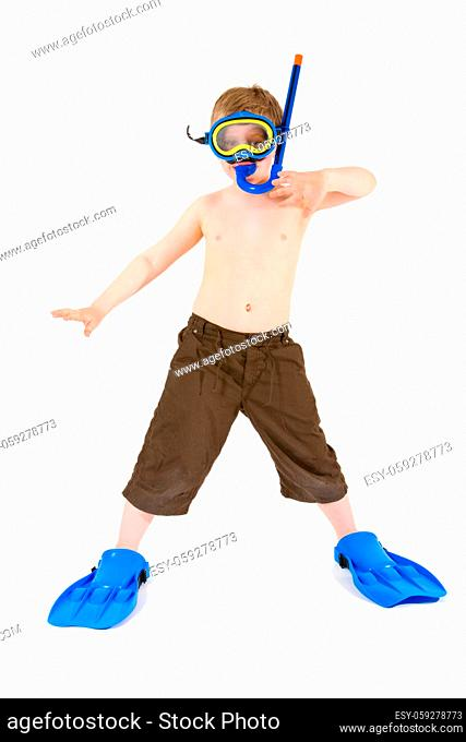 Happy 6 years old child (boy) posing in scuba diving and mask, ready for summer vacation. Isolated on white