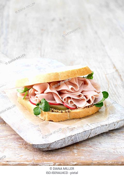 Wafer thin ham, wholegrain mustard, sliced gherkins and radish sandwich on sliced white bread