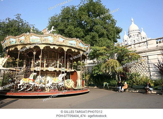 tourism, France, paris 18th arrondissement, montmartre, carousel at the foot of the sacre coeur, square villette, carousel of wooden horses Photo Gilles Targat