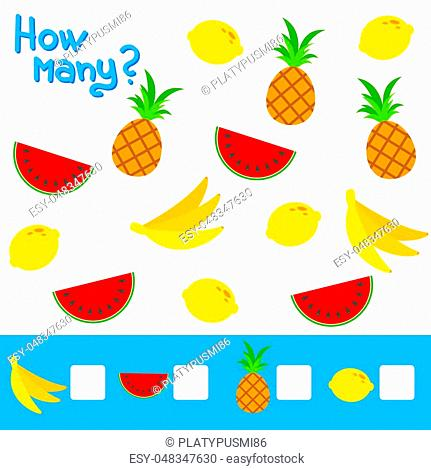 Counting game for preschool children. The study of mathematics numbers. How many fruits in the picture. Banana, lemon, pineapple, watermelon
