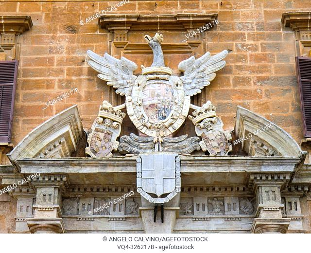 Palace of the Normans, Palazzo Reale or Palazzo dei Normanni, Royal Arms above the maìn entrance door, Palermo, Sicily, Italy