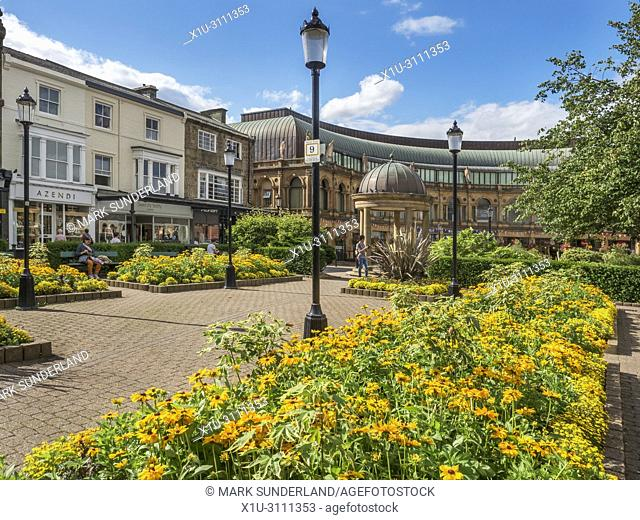 Summer flowers in Victoria Gardens at Station Parade in Harrogate North Yorkshire England