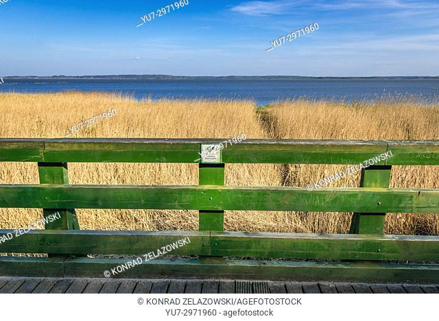 Gardno Lake seen from viewing platform in strict protection area of Slowinski National Park, located on the Baltic coast in Pomeranian Voivodeship of Poland