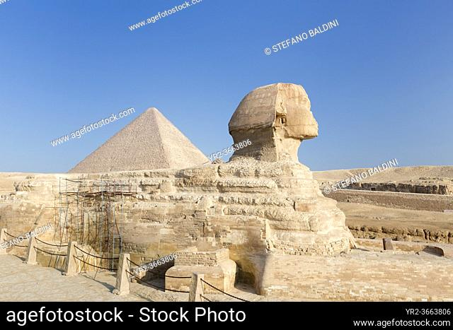 The great Sphinx with the pyramid of Cheops in the background, Giza, Cairo, Egypt