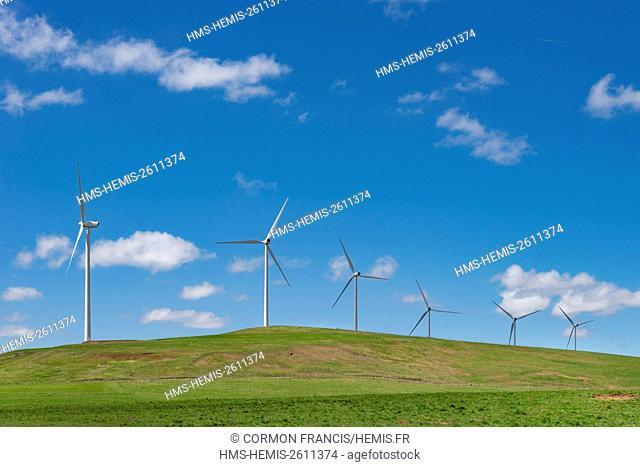 France, Cantal, Peyrusse, Allanche wind farm