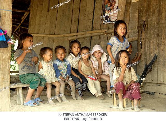 Children living in poverty, Hmong People village, near Luang Prabang, Laos, Southeast Asia