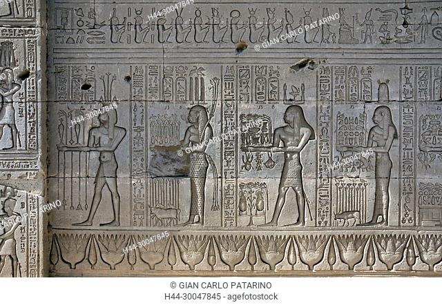 Dendera Egypt, ptolemaic temple dedicated to the goddess Hathor. Carvings on external wall