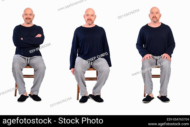 group of same man in pajamas sitting o a chair on white background, front view