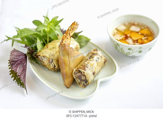 Fried spring roll selection (Hanoi, Vietnam)