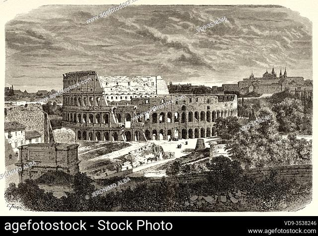General view of the Colosseum, Rome. Italy, Europe. Trip to Rome by Francis Wey 19Th Century