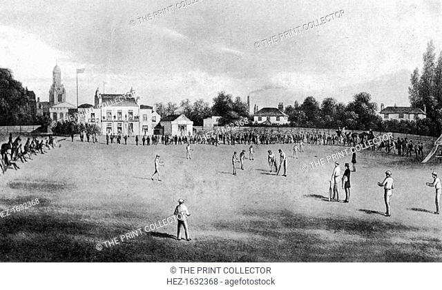A cricket match in progress at Kennington Oval, London, 1848 (1912). From Imperial Cricket, edited by P F Warner and published by The London and Counties Press...