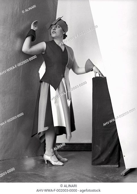 Portrait of Anita in a dress designed by the painter Marcello Clarion, shot 1930 ca. by Wulz, Wanda