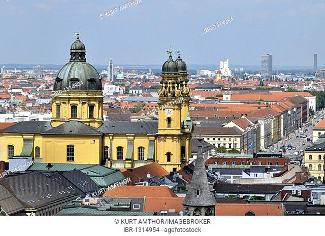 View from the spire of the Alten Peter church to the Theatinerkirche church, Ludwigstrasse street, Schwabing, Munich, Bavaria, Germany, Europe