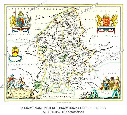 Map of Staffordshire by Johan Blaeu