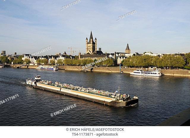 Barge on the Rhine River at Cologne
