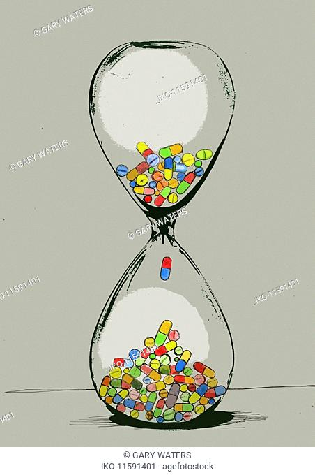 Pills inside of hourglass