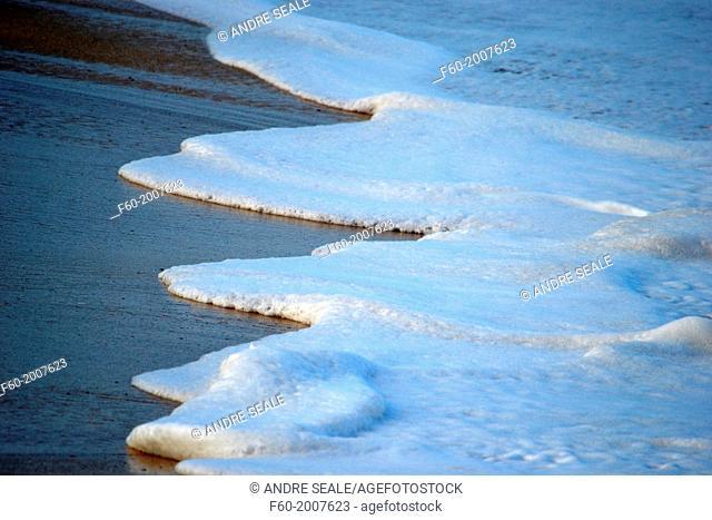 Foam from waves crashing in the shore, Waimea Bay, North Shore of Oahu, Hawaii, USA