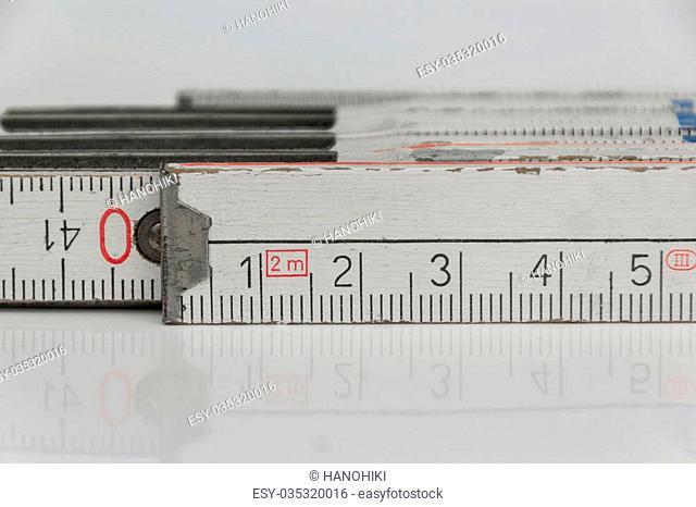 folding rule macro - closeup of metric folding ruler