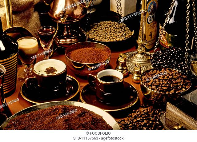 A variety of speciality coffees, coffee powder and coffee beans