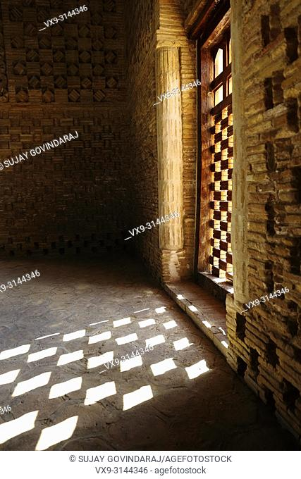 Bukhara, Uzbekistan - August 27, 2016: Interior walls of Samanid Mausoleum, esteemed works of Central Asian architecture, and was built between 892 and 943 CE