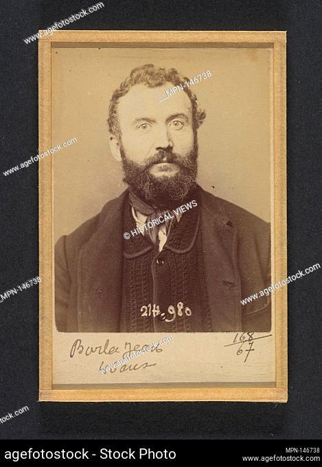 Barla. Jean Michel. 46 ans, né à Sirié (Italie). Mécanicien. Anarchiste. 2/3/94. Artist: Alphonse Bertillon (French, 1853-1914); Date: 1894; Medium: Albumen...