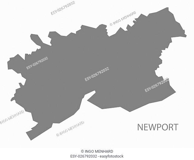 Newport Wales Map grey