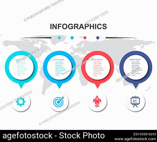 Infographic design template with 4 banners, stock vector